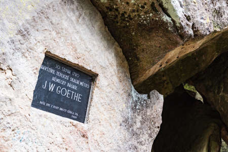 The stone memorial plaque of german writer Johann Wolfgang von Goethe in Adrspach-Teplice Rock stony town. Tourist attraction in Adrspach, Teplice, Czech Republic. Sajtókép