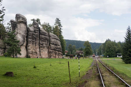 Adrspach, Teplice / Czech Republic - August 16, 2019:  The train station in Adrspach-Teplice Rock stony town - huge rock formations of collumns, labyrinths, walls. Place full of touristic tracks, trails among rocks.