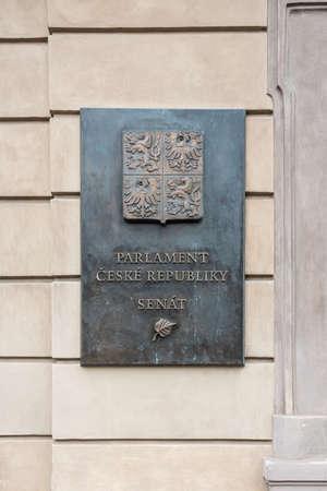 Prague, CZECH REPUBLIC - August 17,2018:  The Senate of the Parliament of the Czech Republic plaque placed on the building wall.