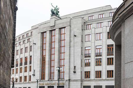 Prague, Czech Republic -August 17,2019: Ceska Narodni banka - Czech National Bank, building of public financial institution. Central and reserve bank. Sajtókép