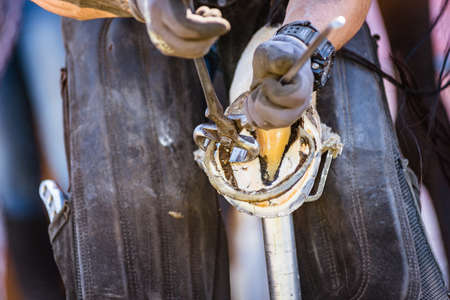 Horse farrier at work - trims and shapes a horse's hooves using farriers pincers, rasper and knife. The close-up of horse hoof.