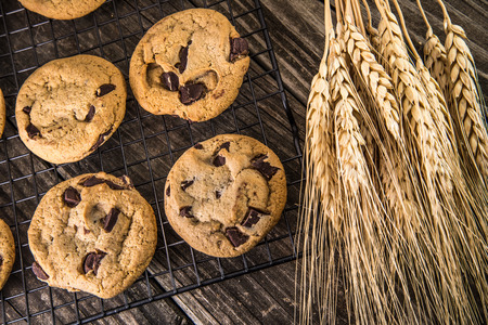 chocolate treats: Freshly Baked Chocolate Chip Cookies out of the oven - cookies on black cooling rack on vintage old wooden table with wheat Stock Photo
