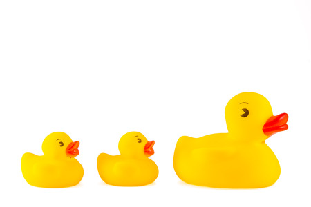 Rubber ducky toys for bathtime for children isolated on white background.