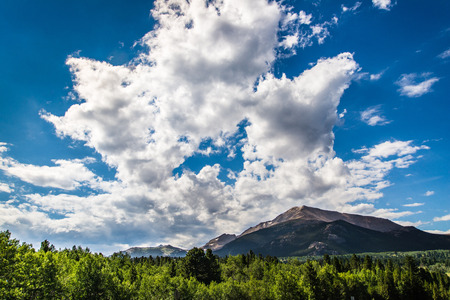 Forest and mountains under blue sky cloudscape taken in Colorado Rocky Mountians Estes Park. Stock Photo