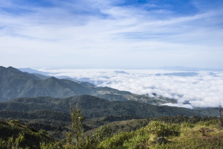 Summer cloudy sunrise mountain view at doi inthanon Chiang mai, Thailand photo