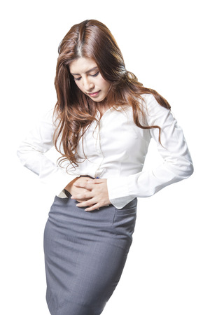 stomache: Young Asian business woman attractive beautiful with stomache issues