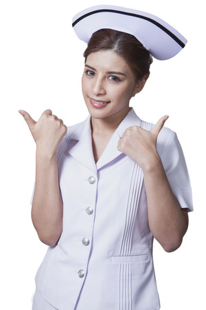 Young woman asian nurse attractive beauty brunette in white background Stock Photo - 29205782
