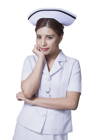 Young woman asian nurse attractive beauty brunette in white background Stock Photo - 29205783