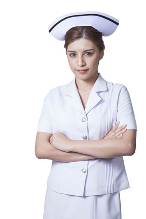 Young woman asian nurse attractive beauty brunette in white background Stock Photo - 29205791