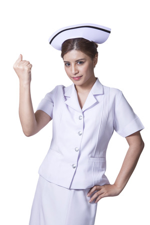 Young woman asian nurse attractive beauty brunette in white background Stock Photo - 29205838
