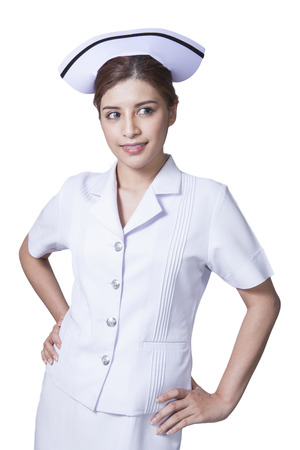 Young woman asian nurse attractive beauty brunette in white background photo
