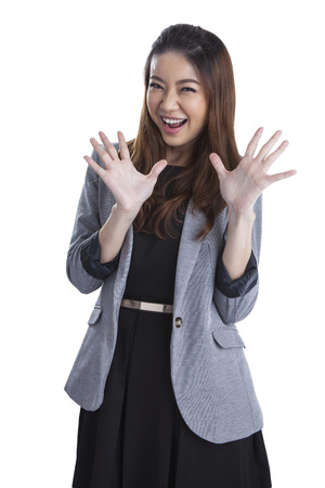 Excited beauty woman Very excited mixed caucasian   asian xwoman holding her head in amazement  Isolated on white  photo