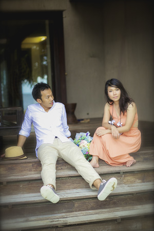 Romantic young couple  relaxation in resort on beauty beach. photo