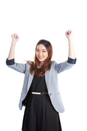 Successful young business woman happy for her success.  photo