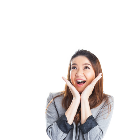 Excited beauty woman Very excited  asian woman holding her head in amazement. Isolated on white.