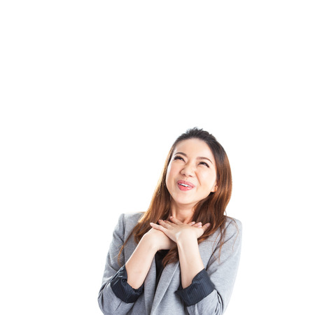 Excited beauty woman Very excited  asian woman holding her head in amazement. Isolated on white. photo