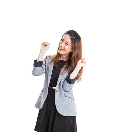 Excited beauty woman Very excited  asian xwoman holding her head in amazement. Isolated on white. photo