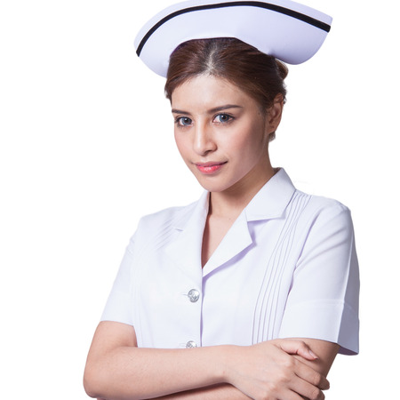 aciculum: Young woman asian nurse attractive beauty brunette in white background Stock Photo