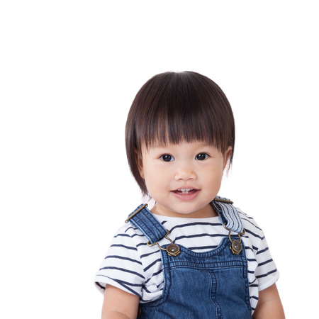 southern european descent: Beautiful baby, black hairs, isolated on white,