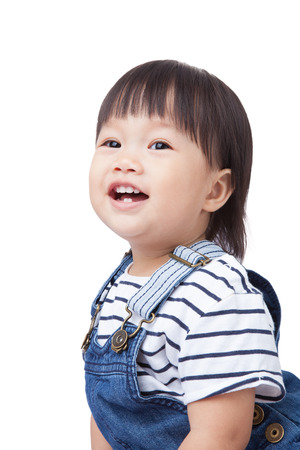 southeast asian ethnicity: Beautiful baby, black hairs, isolated on white,