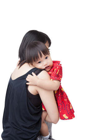 cried: Mother holding little daughter crying. shed tears because of sadness, rage or pain isolated on white background