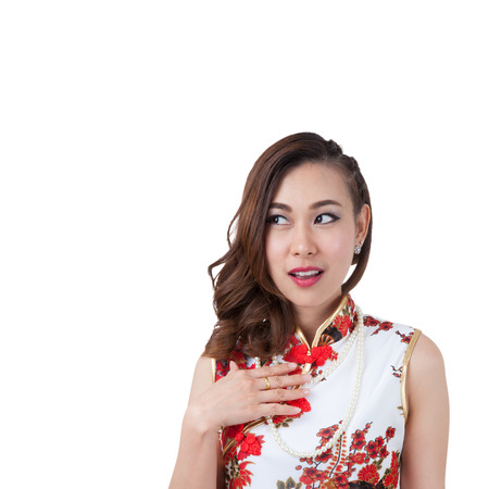 qipao: Chinese woman in cheongsam of traditional Chinese dress, Excited beauty woman Very excited mixed Caucasian  Asian woman in amazement. Isolated on white background.