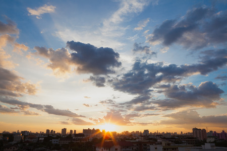 city of sunrise: Aerial view of dramatic sunset and sunrise  Blue sky in Bangkok Stock Photo