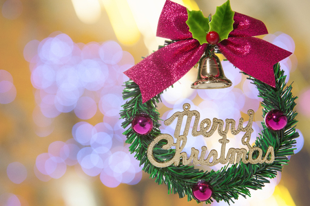 depth: Christmas garland image and abstract background  shallow depth of focus.