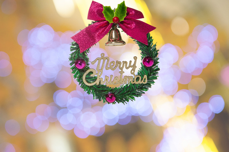 shallow: Christmas garland image and abstract background  shallow depth of focus.