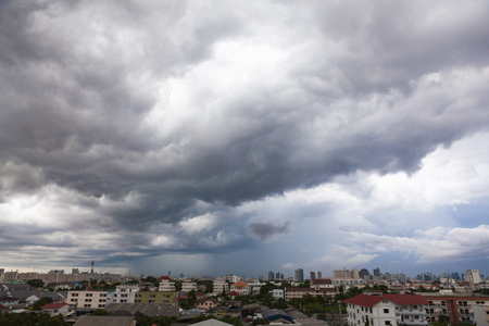 Sky Grey-cloud and heavy rain at Bangkok, Thailand.