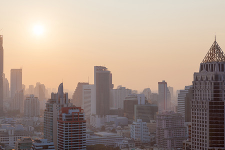 orenge: Aerial view of dramatic sunset and sunrise of Asia  Orenge sky in Bangkok Stock Photo