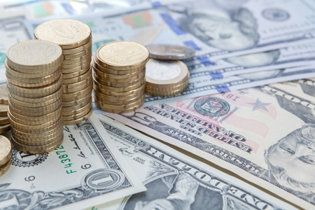 Finance background with money Dollar and ERO. Finance concept. Stock Photo
