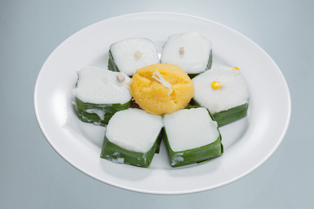 fareast: Thai Candy TACO preparation on white bowl with coconut and dried shredded pork,