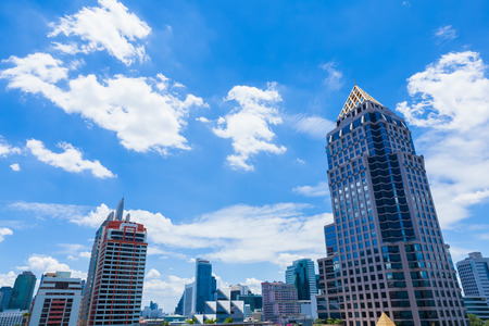Sky and clouds blue sky  Clear blue sky at Bangkok, Thailand. Stock Photo