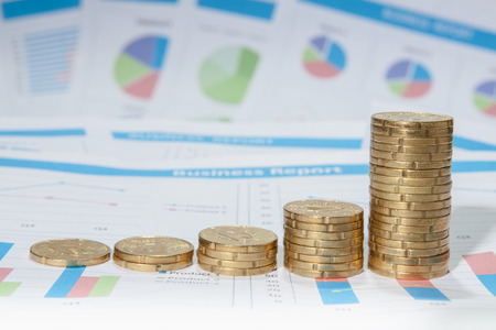 cents: Finance background with market data and euro cents. Finance concept.
