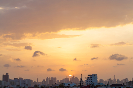 orenge: Aerial view of dramatic sunset and sunrise  Orenge sky in Bangkok Stock Photo