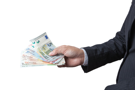 one hundred euro banknote: Business Man Displaying a Spread of Cash over isolated a white background, have clipping path. Stock Photo
