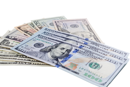 path to wealth: Pattern of one hundred dollar bills pile. Money background and have clipping path.