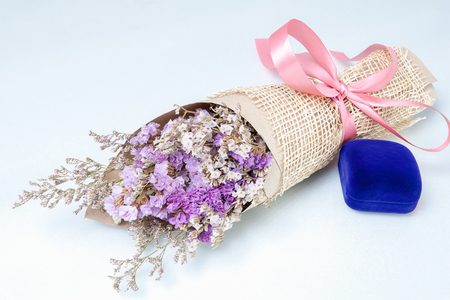Stack Image : Bouquet of flower with blue  jewelry boxes lavender flower purple color  isolated on white background