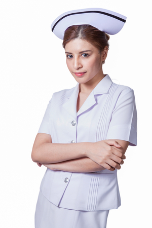 ady: Young woman asian nurse attractive beauty brunette in white background Stock Photo