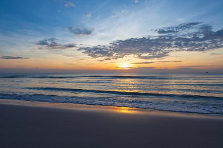 hua: An impressive sunrise over the sea at Hua Hin beach, Thailand.