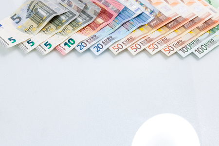 50 dollar bill: Stack of Euro banknotes have empty space isolated on white background, have clipping path. Stock Photo