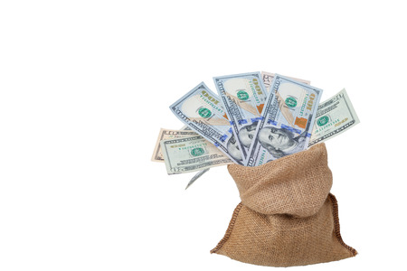 path to wealth: Bag of money with different Dollars bills isolated in studio shot on white background and have clipping path, Stock Photo