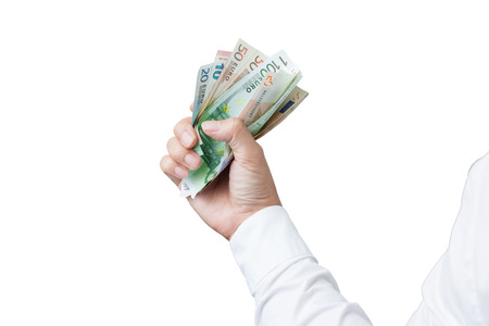 way bill: Money in the hand (Hand with money, Hand holding Banknotes), have clipping path.