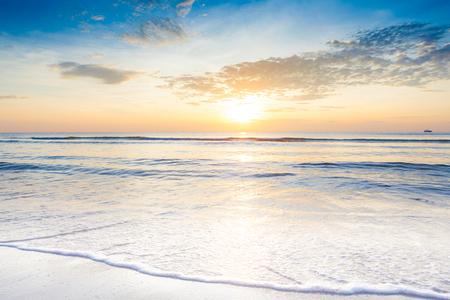 hua: Bright sunrise over the beach an impressive at Hua Hin beach, Thailand. Stock Photo