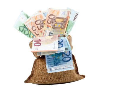 Bag of money with different euro bills isolated in studio shot on white background. have clipping paths.