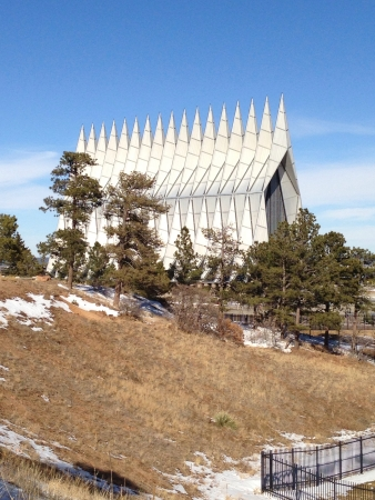 The Air Force Academy chapel from a distance