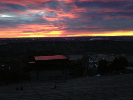 The sunrise from the Red Rocks Amphitheater outside of Denver Colorado.