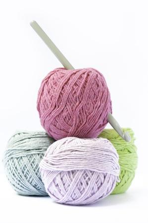 gomitoli di lana: Quattro cooton palla a colori con un ago per kitting