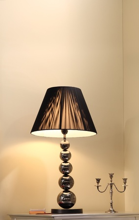 styled interior: Night vintage lamp on the table